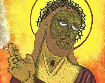 Smoking Jesus, gouache, pen and ink printed