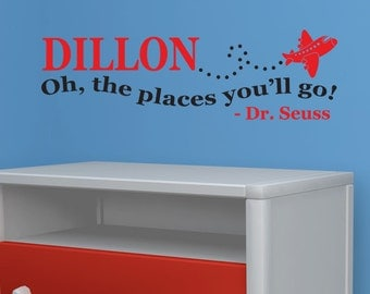 Personalized Boy's Name - Oh the places you'll go... Dr. Suess Vinyl Wall Decal Sticker Art