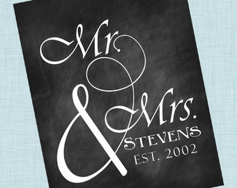 Personalized Family - Mr. and Mrs. Signs - Custom Downloadable - Downloadable Print - Custom Family Signs - Digital JPG File 8x10