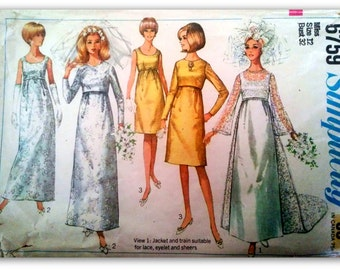 Simplicity 6759   Wedding dress with detachable train bridesmaid dress with jacket  1960's Size 12
