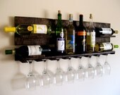 Reclaimed Wood Wine Rack - Pallet Wood Wine Rack - Dark Walnut, Brown or Natural (no color) Wine Shelf Eco Friendly