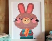 Hot Dog Bunny - Modern Nursery Art Print - Animal Art - Kids Wall Art - Nursery Decor - Baby Shower - Modern Art - Gender Neutral