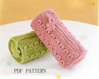 PDF download pattern,pencil bag pattern,crochet make up bag pattern,crochet cosmetic case pattern