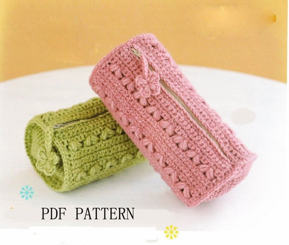 PDF download pattern,pencil bag pattern,crochet make up ...