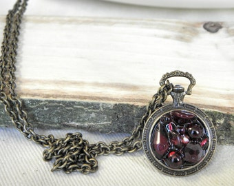 Beaded pocket watch necklace, resin, brass