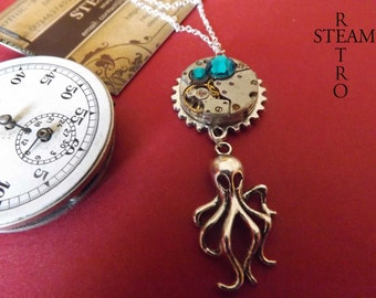 10% off sale16  The Broadstone Kraken Steampunk Necklace Winter Version Steampunk Pendant - Octopus Necklace  by Steamretro