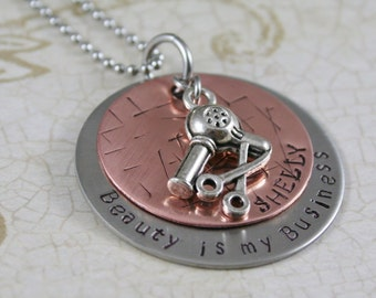 """Beautician, Hairdresser, Cosmetologist, """"Beauty is my Business"""" Stainless steel and copper Necklace with Blowdryer and Scissor charm"""