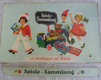 Probably 50s: selection of games. Franz Schmidt Muenchen13, games factory (Germany). Age old toys, board games and more. VINTAGE
