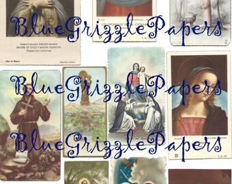 Digital collage sheet vintage Holy Cards - Instant download