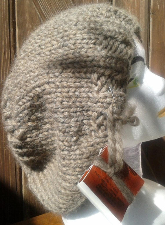 Brown Slouchy Hat- 100% French Wool- Handmade- French Style - Made in France- Pure Wool Knitted-  Natural - Organic- Large Beanie- Unisex
