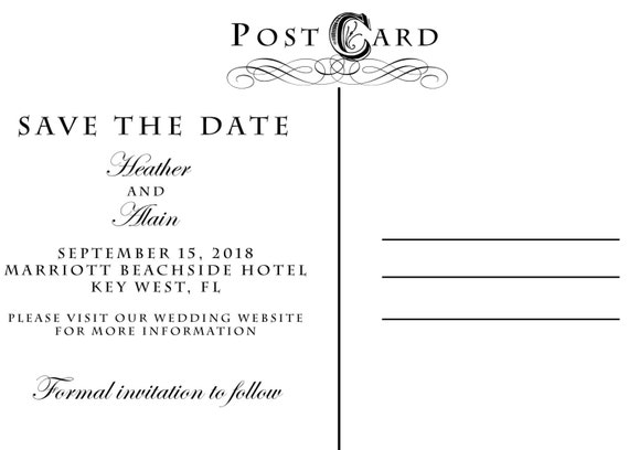 items similar to custom save the date postcard backside add on on etsy. Black Bedroom Furniture Sets. Home Design Ideas