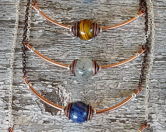 Simply Necklace, Gemstone bead with Copper and silver plated steel CO-1309-A