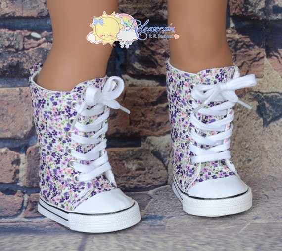 "Purple with Some Pink Little Flowers Lace-Up Knee High Top Sneakers Boots Doll Shoes for 18"" American Girl dolls"