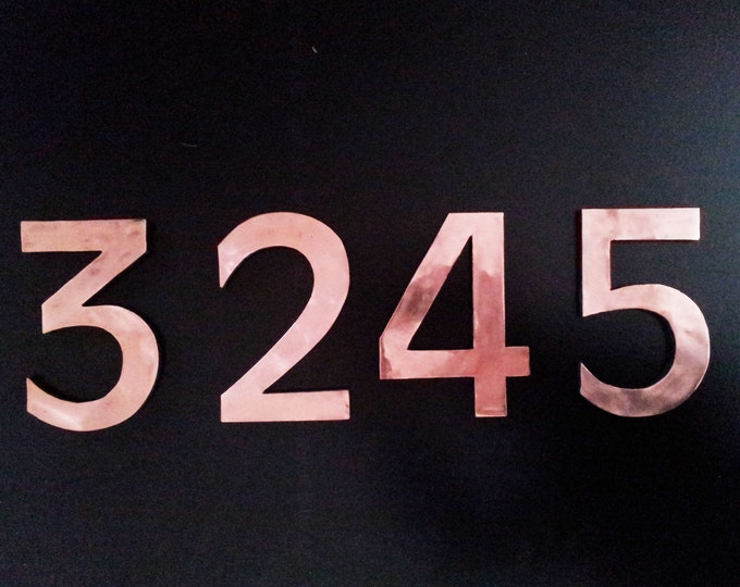 "Large architectural 8""/200mm high floating numbers with copper face, polished and laquered o"