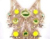 UNIQUE Rhinestone PEACOCK necklace hand made with Vaseline-Uranium and NEON stones  Unique vintage, antique, costume and estate jewelry.
