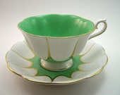 Vintage Royal Albert Green Tea Cup And Saucer, English tea cup set, Green Gold and White .
