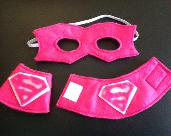Super Hero Mask, cuffs Set, supergirl, batgirl