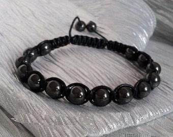 Hematite Bracelet,Unisex, Hematite Shamballa Bracelet, 8MM Hematite Ball Beads Macrame Bracelet