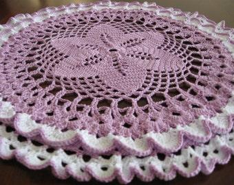 Lavender Ruffled 3-D doily