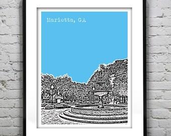 Marietta Georgia Poster Art Skyline Cobb County Historic Downtown Square Print