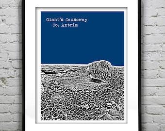 Giant's Causeway Skyline Poster Art Print Co. Antrim Northern Ireland