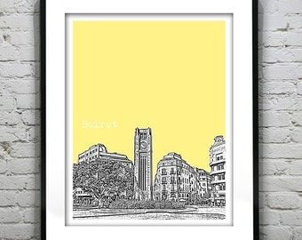 Beirut Lebanon Skyline Poster Art  Downtown Raouche Avenue de Paris