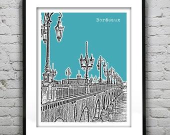 Bordeaux France Skyline Poster Print