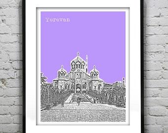 Yerevan Armenia Poster Art Print Skyline Cathedral of Saint Gregory