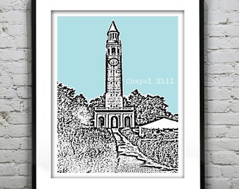 1 Day Only Sale 10% Off - Chapel Hill NC Poster Skyline Art Print North Carolina