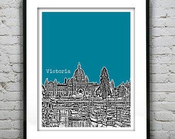 1 Day Only Sale 10% Off - Victoria BC Poster Print City Skyline Canada Art Print British Columbia