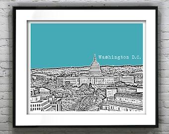 Washington DC Poster Skyline Print Art Capital Building Landscape