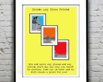 3 Pack Art Print Posters Your Choice of any Prints, Colors, Size