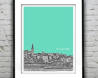 Belgrade Serbia City Skyline Poster Art Print