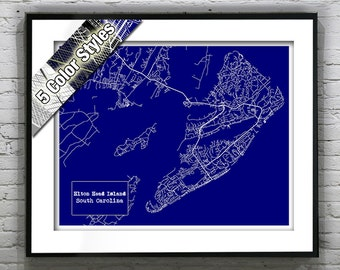 Hilton Head Island South Carolina Blueprint Map Poster Art Print Several Sizes Available