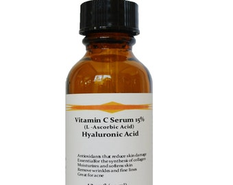 Vitamin C (L-Ascorbic Acid) 15% with Pure Hyaluronic Acid Anti Aging Serum
