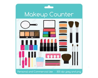 Makeup Counter Clipart INSTANT DOWNLOAD Design Elements Digital Scrapbook