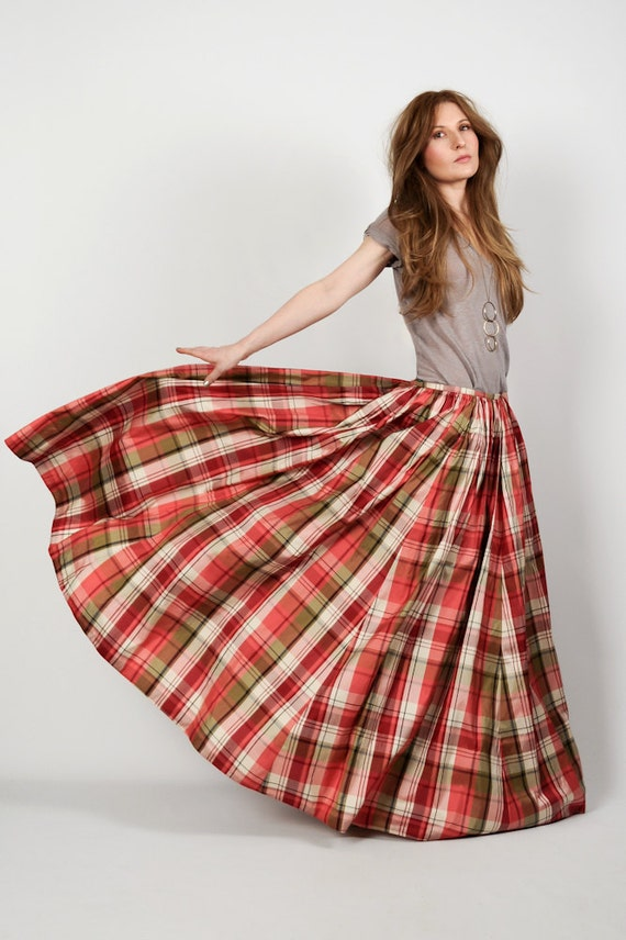 vintage SILK TAFFETA plaid ball gown Maxi Skirt S/M M long