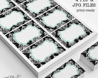 Damask printable labels, digital labels, black and white damask labels and tags - Digital damask labels - INSTANT DOWNLOAD