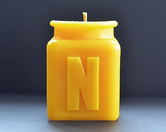 Handmade Personalized Monogram Letter N Beeswax Candle, Table Number, All Letters and Numbers Available