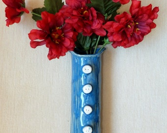 Blue Button Vase, Kitchen Funky Utensil Holder Rustic Handmade Pottery, Wild Crow Farm Pottery, Red and Purple
