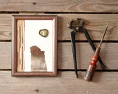 Wall art for men / small framed art / brown rusted metal art / minimalistic found objects art / white brass artwork
