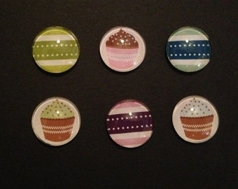 Cupcakes And Stripes Bubble Magnets