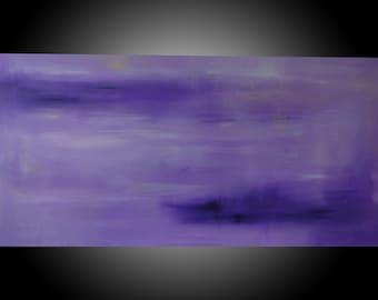 "Purple Haze.  Original Abstract Acrylic Painting on canvas.  24""x48""x1.5""."