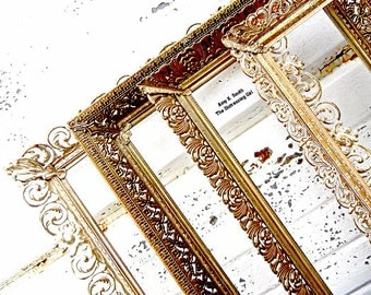 Set of Five 8 by 10 Gold Metal Frames Ornate Random Frame Vintage Antique Filigree 8x10 Picture Frame Bulk Wedding Frames Decor
