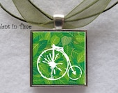 Vintage Bicycle with Green Leafs Pendant - APendantInTime