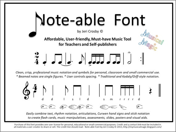Note-able Font Easily type rhythm notation articulations