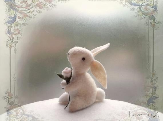 White rose felt bunny, woodland artist plushie
