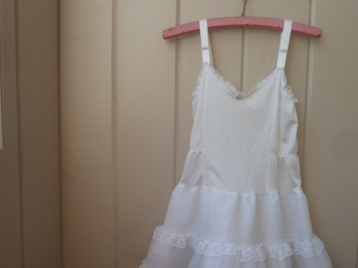 Vintage Little Girls Or Toddler Girl White Slip Dress Girls