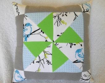 Blue Bird Pinwheel Pillow