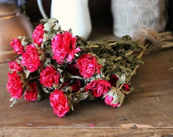 1 Bouquet Red Rose Like Flowers Handmade Great for Botanical Dried Floral Arrangements Cottage Decor Shabby Bouquets Wedding